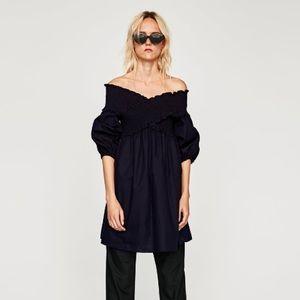 NWT Zara Off-the-Shoulder Poplin Dress